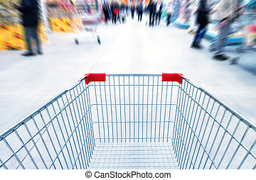 chariot, vide, supermarché