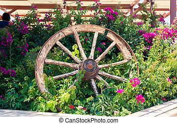 chariot, vieux, roue, cassé