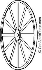 chariot, wheel., illustration., vecteur
