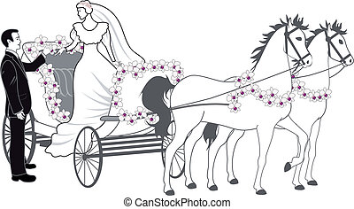 An a vector illustration of chariot with newlyweds