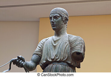 Charioteer ancient statue at Delphi