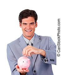 charismatic, üzletember, takarékbetét pénz, alatt, egy, piggy-bank