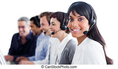Charismatic customer service representatives with headset on in a call center