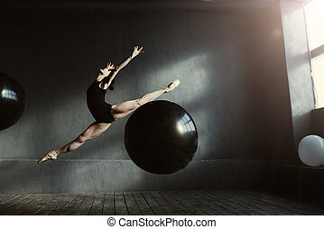 Charismatic dancer expressing herself in the studio -...
