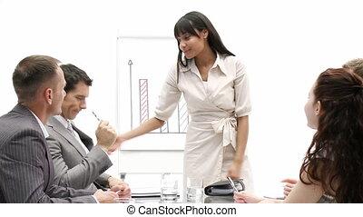 charismatic, donna d'affari, fare, uno, p