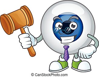 Charismatic Judge human eye ball cartoon character design with glasses