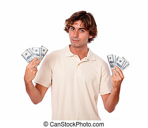 Charismatic man in white holding cash money