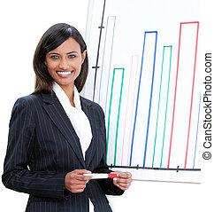 charismatic, mujer de negocios, hacer, un, presentación