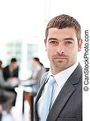 charismatic, posición empresario, en, el, primer plano