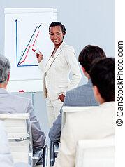 charismatic, présentation, femme affaires