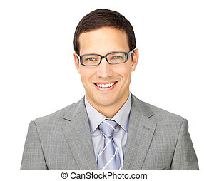 Charismatic young businessman wearing glasses isolated on a...