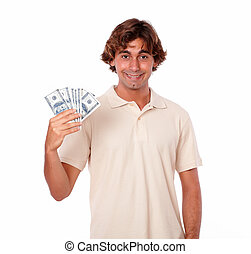 Charismatic young man holding cash money
