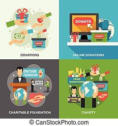 charité, concept, ensemble, icônes