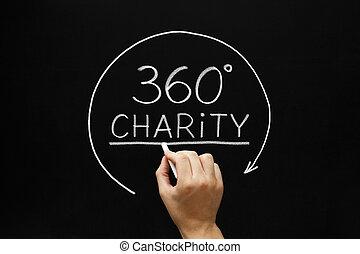 charité, degrés, 360, concept