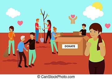 charité, donation, concept, illustration, vecteur, volontaire