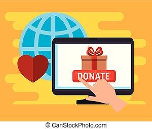 charité, donation, informatique, ligne