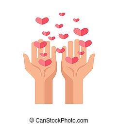 charité, donation, mains, cœurs, vcector, icône