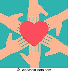 charité, mains, symbole, coeur, donation