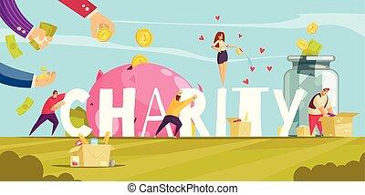 charité, paysage, composition, donations
