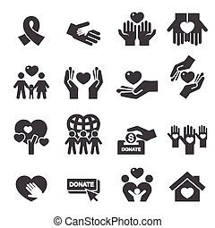 charité, silhouette, icônes