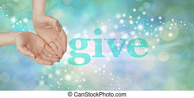 Female cupped hands next to the word GIVE on a soft green bokeh background with glittering sparkles moving across the wide providing plenty of copy space