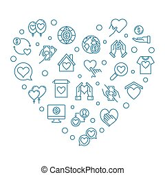Charity and Donation icons in heart shape - vector illustration