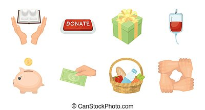 Charity and donation icons in set collection for design. Material aid vector symbol stock web illustration.