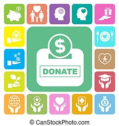 Charity and donation icons set