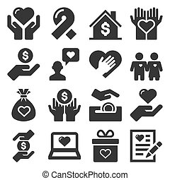 Charity and Donation Icons Set on White Background. Vector