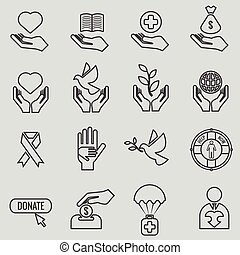 Charity and donation line icons vector set