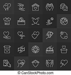 Charity and donation outline icons. Vector donate linear signs