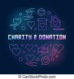 Charity and Donation round vector colored outline illustration