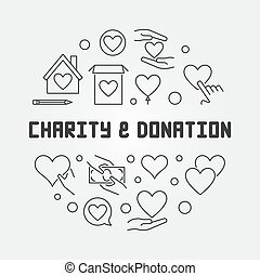 Charity and Donation round vector concept outline illustration