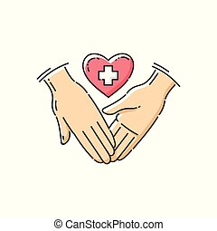 Charity and health care icon the hands and heart vector illustration isolated.