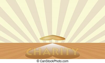 Charity animated banner with golden heart mirroring,...