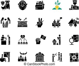 Charity black glyph icons set on white space