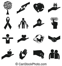 Charity black simple icons. Donation icons for web and...