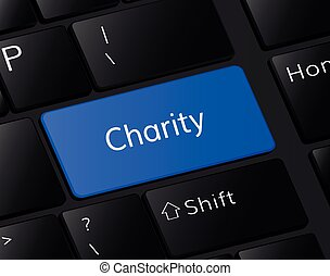 Charity button on keyboard. Charity concept . Charity illustration