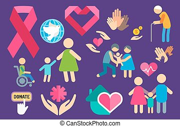 Charity care flat icons set