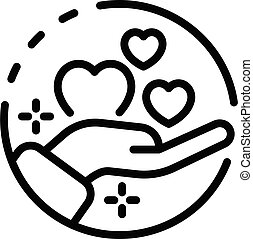 Charity care icon, outline style