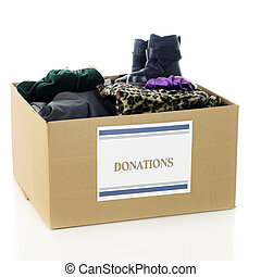 """Charity Clothing Box - A large corrugated box with a """"..."""