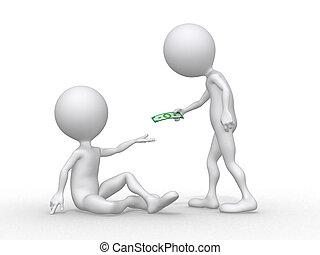 charity., conceito, de, um, pessoa, ajudando, pobre,...