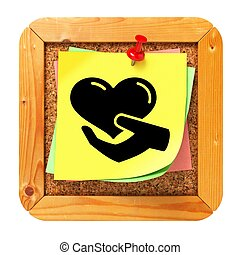 Charity Concept - Yellow Sticker on Message Board. - Charity...