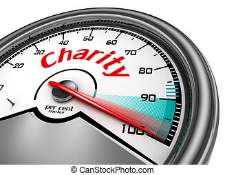 Charity conceptual meter indicate hundred per cent