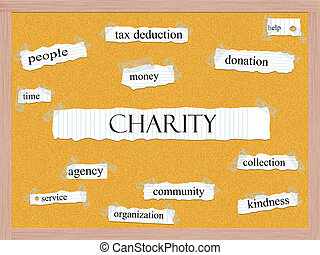 Charity Corkboard Word Concept