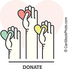 Charity, donation and fundraising concept - volunteer helping hand with heart