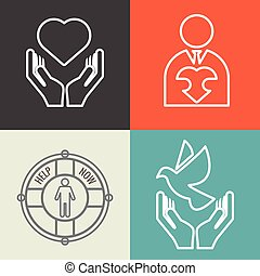 Charity, donation and volunteer concept backgrounds with vector logo line style