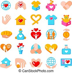 Charity Donation Flat Icons Set