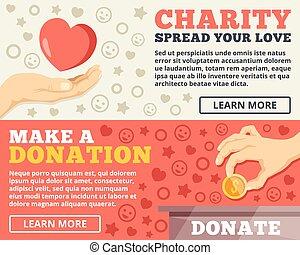 Charity, donation flat illustration