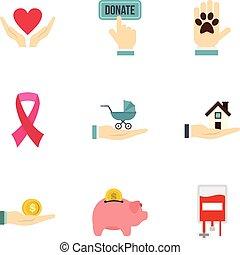 Charity donation organization icons set flat style